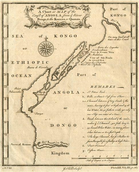 LUANDA. 'Coast of Angola, from ye River Bengo, to the Koanza'. Cuanza 1746 map