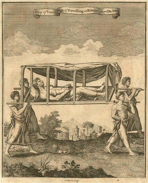 Associate Product CONGO. 'Way of Carriage & Travelling in Kongo'. Litter. After DE BRY 1746