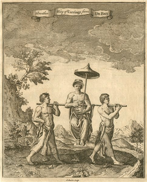 Associate Product CONGO. 'Another way of Carriage'. Litter. Sedan chair. After DE BRY 1746 print