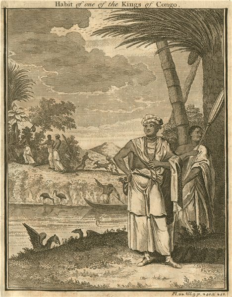 Associate Product 'Habit of one of the Kings of Congo'. Costume dress 1746 old antique print