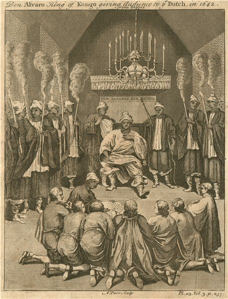 Associate Product 'Alvaro, King of Kongo giving audience to the Dutch in 1642'. After DAPPER 1746