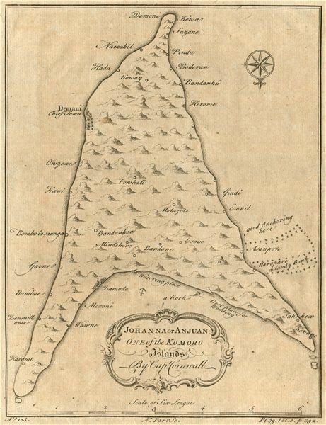 ANJOUAN ISLAND, COMOROS. 'Johanna or Anjuan, one of the Komoro Islands' 1746 map