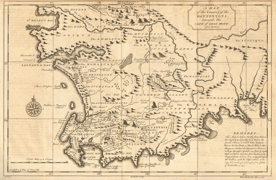 'Country of the Hottentots, towards the Cape of Good Hope'.SOUTH AFRICA 1746 map