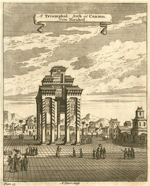 'A Triumphal Arch At Canton'. GUANGZHOU, China. After NIEUHOF 1746 old print