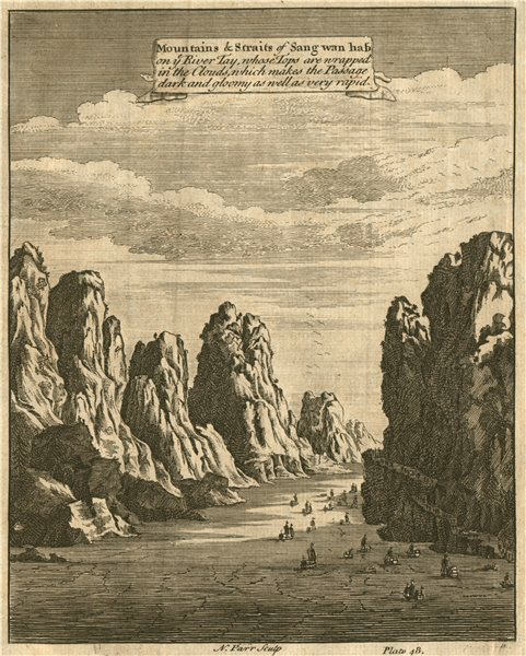 Associate Product CHINA. Mountains & Straits of Sang Wan Hab on the River Tay. PARR 1746 print