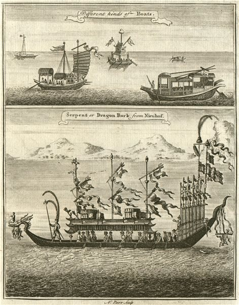 Associate Product CHINESE BOATS. 'Serpent or Dragon Bark'. Dragon boat. After NIEUHOF 1746 print