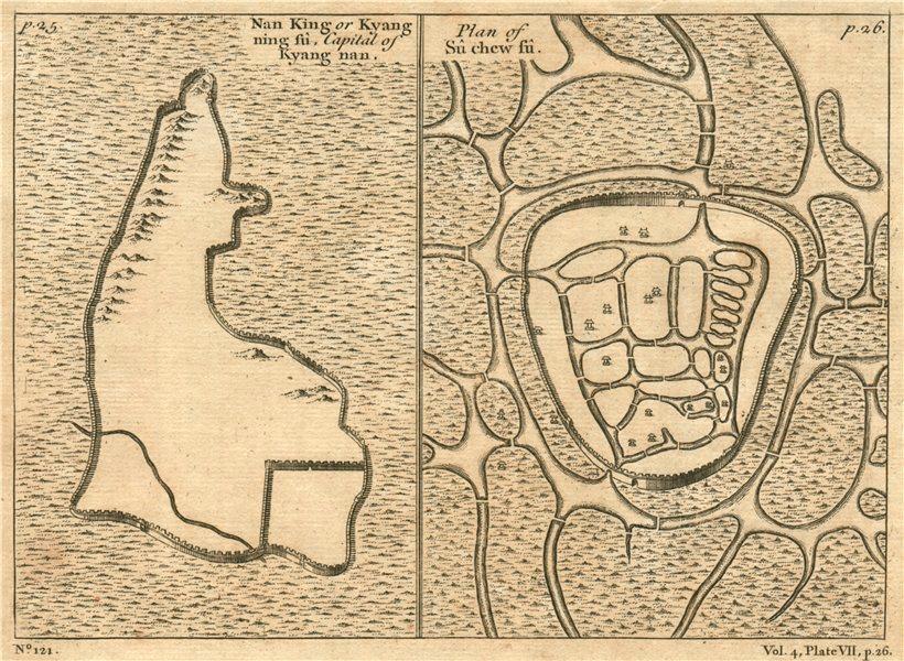 JIANGSU CITY PLANS. Nanking (NANJING) & Su Chew fu (SUZHOU). China 1746 map