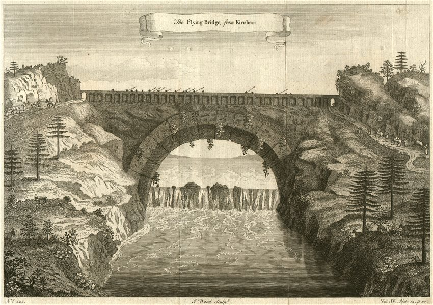 Associate Product CHINA. 'The Flying Bridge'. After Kircher 1746 old antique print picture