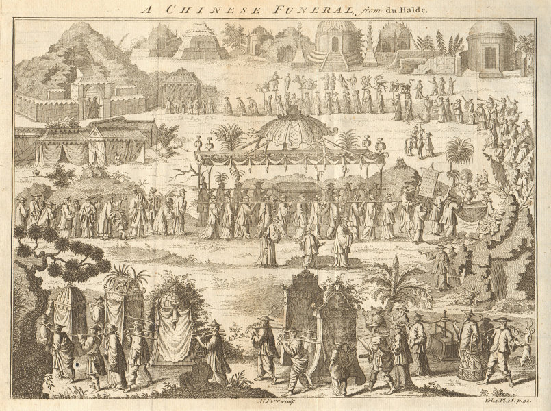 Associate Product CHINA. A Chinese Funeral. After DU HALDE 1746 old antique print picture
