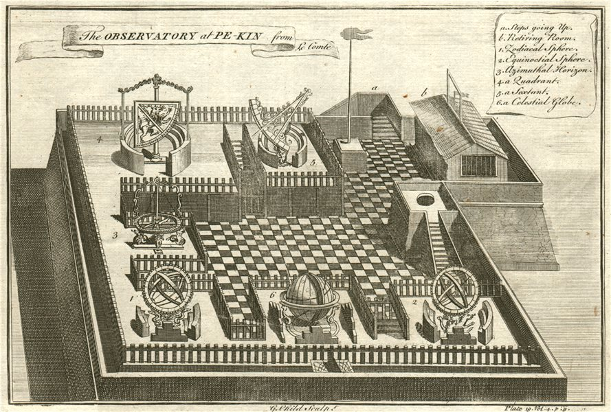 The BEIJING Ancient Observatory at Peking, China. Astronomy. From LE COMTE 1746