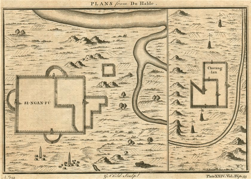 ANTIQUE XIAN CITY PLAN 'Si-ngan-fu' [XIAN]. Chwang Ian. China. G. CHILD 1746 map