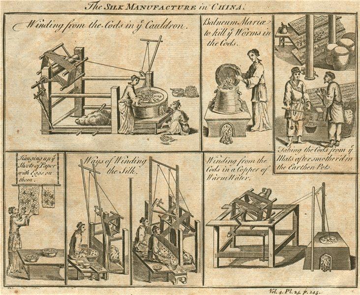 SILK MANUFACTURE IN CHINA. Winding. Balneum Mariae 1746 old antique print