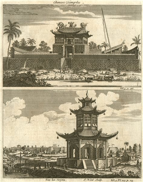 CHINESE TEMPLES. Tey wang myan & Sin ko tsyen 1746 old antique print picture