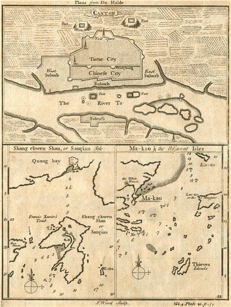 Canton [GUANGZHOU] Shang chwen Shan [SANGCHUAN] Ma kau [MACAU] plans 1746 map