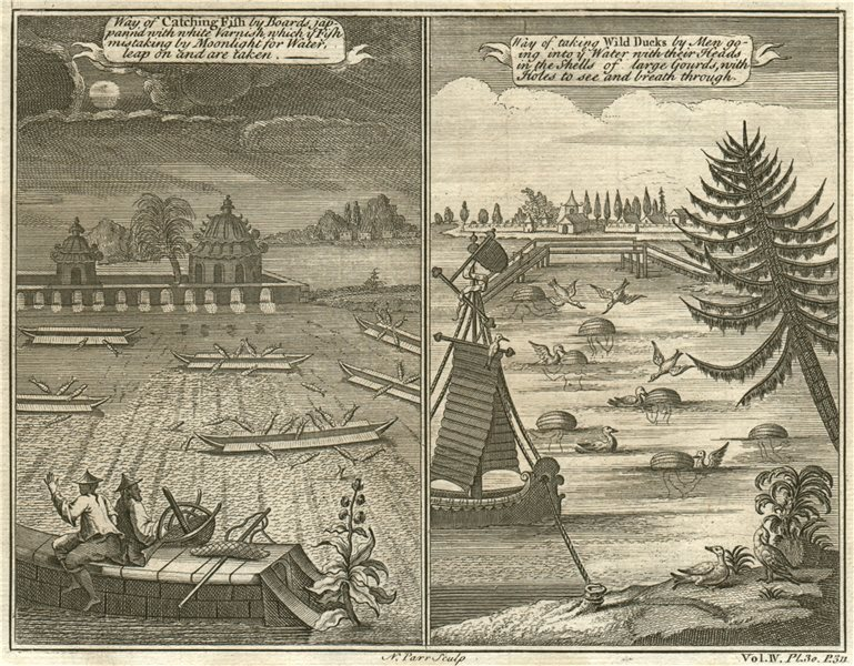 Associate Product CHINESE FISHING METHODS. Varnished boats. Disguised fishermen 1746 old print