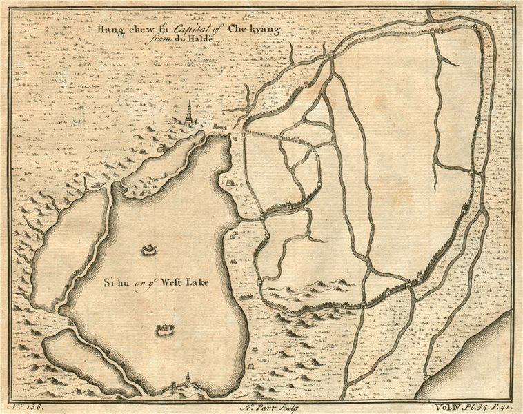 ANTIQUE HANGZHOU PLAN. Hang Chew fu, Chekiang/Zhejiang. PARR 1746 old map