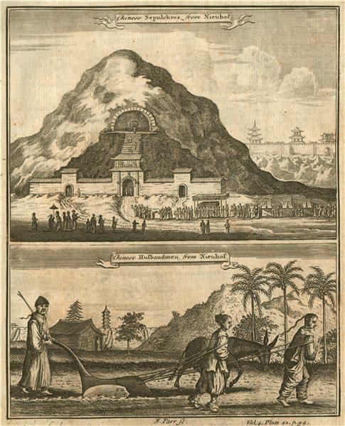 Associate Product CHINA. Chinese Sepulchres. Chinese Husbandmen ploughing. After NIEUHOF 1746