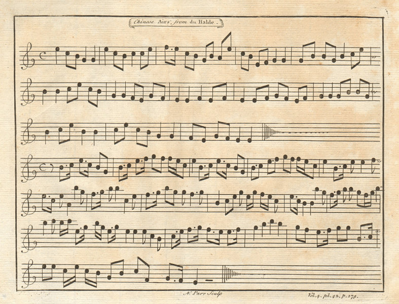 CHINA. 'Chinese Airs'. Music. After DU HALDE 1746 old antique print picture