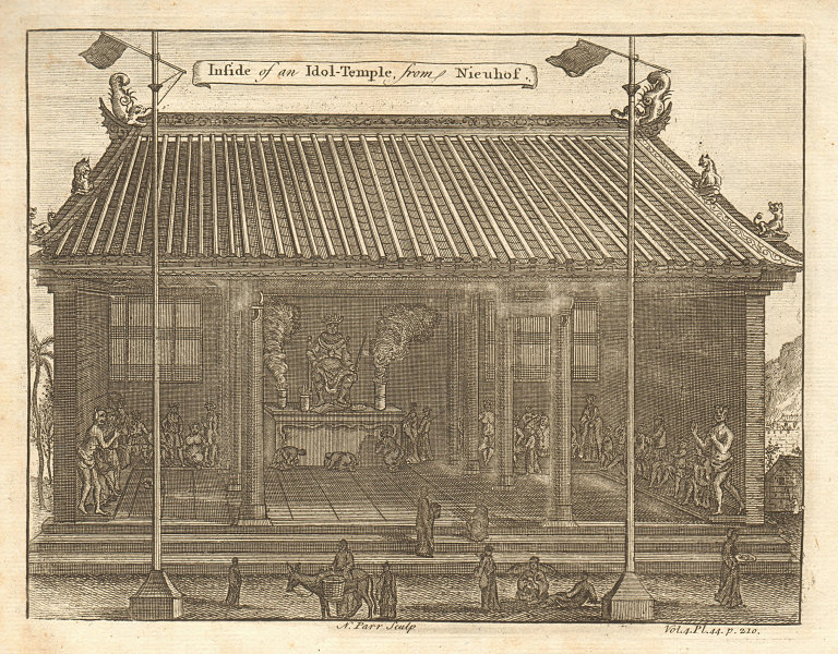 Associate Product CHINA. Inside of an Idol Temple. After NIEUHOF 1746 old antique print picture