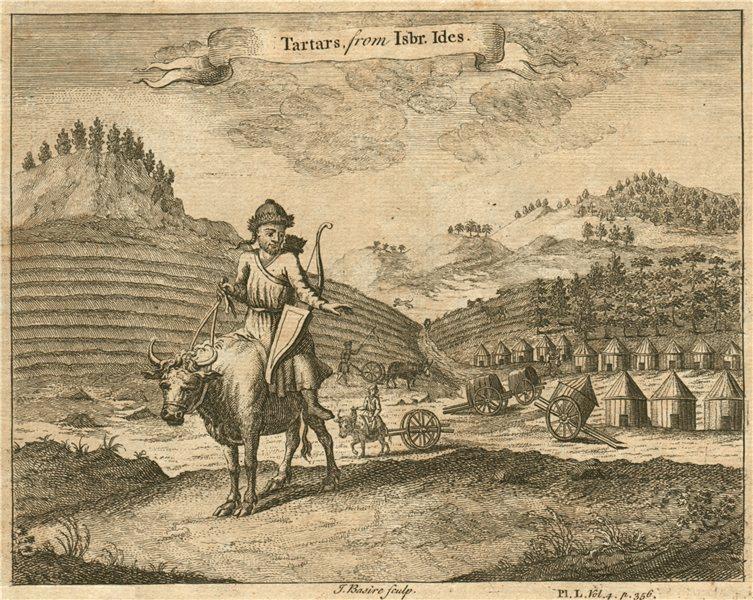 CENTRAL ASIA. Tartars/Tatars. After ISBRANT IDES 1746 old antique print