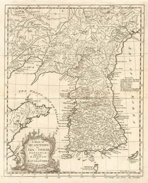 Quan-Tong or Lyau-Tong province & the Kingdom of Kau li/Korea. KITCHIN 1746 map