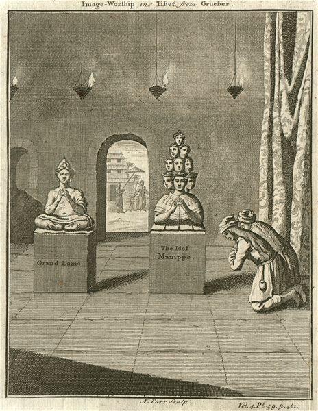 'Image Worship in Tibet'. Grand (Dalai) Lama. Idol Manippe. From GRUEBER 1746