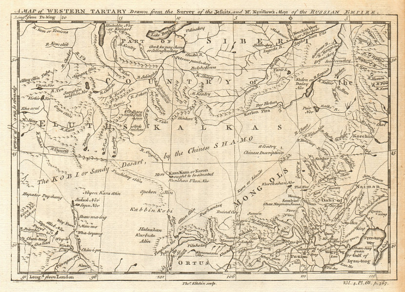 MONGOLIA. 'Western Tartary' from the Jesuit survey & Kyrillow. KITCHIN 1746 map