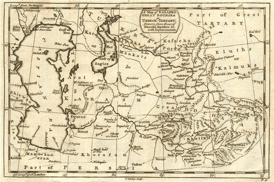 CENTRAL ASIA. Karasm [Khwarezm] Great Bochara [Bukhara] Usbeck Tartary 1746 map