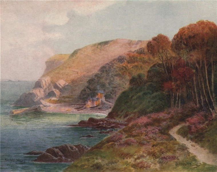 Associate Product Babbacombe, Torquay, South Devon, by Charles E. Hannaford 1907 old print
