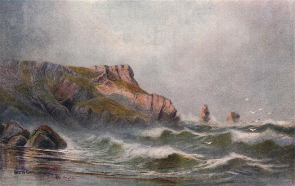 Associate Product Anstey's Cove, Torquay, South Devon, by Charles E. Hannaford 1907 old print