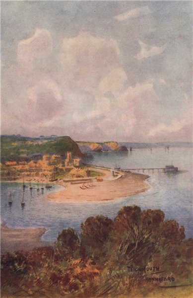 Associate Product Teignmouth from Shaldon, South Devon, by Charles E. Hannaford 1907 old print