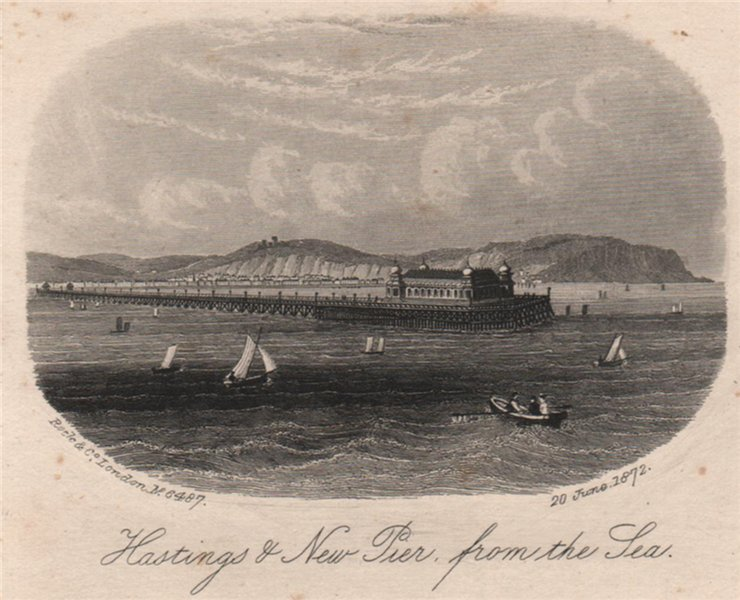 Associate Product Hastings & new pier, from the sea, Sussex. Antique steel engraving 1872 print