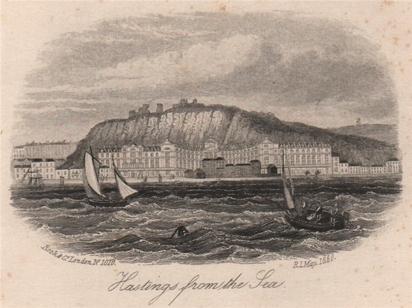 Associate Product Hastings from the sea, Sussex. Antique steel engraving 1860 old print