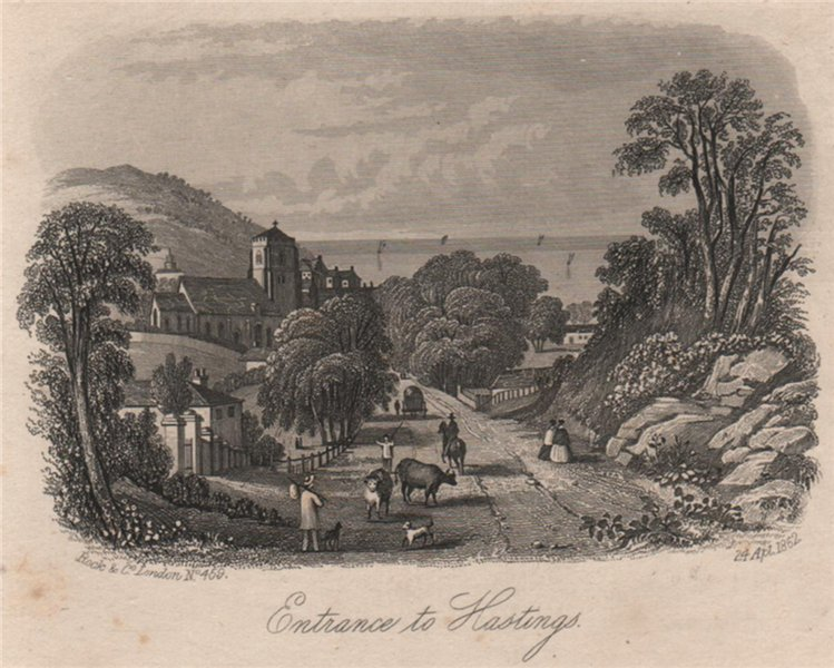 Associate Product Entrance to Hastings, Sussex. Antique steel engraving 1852 old print