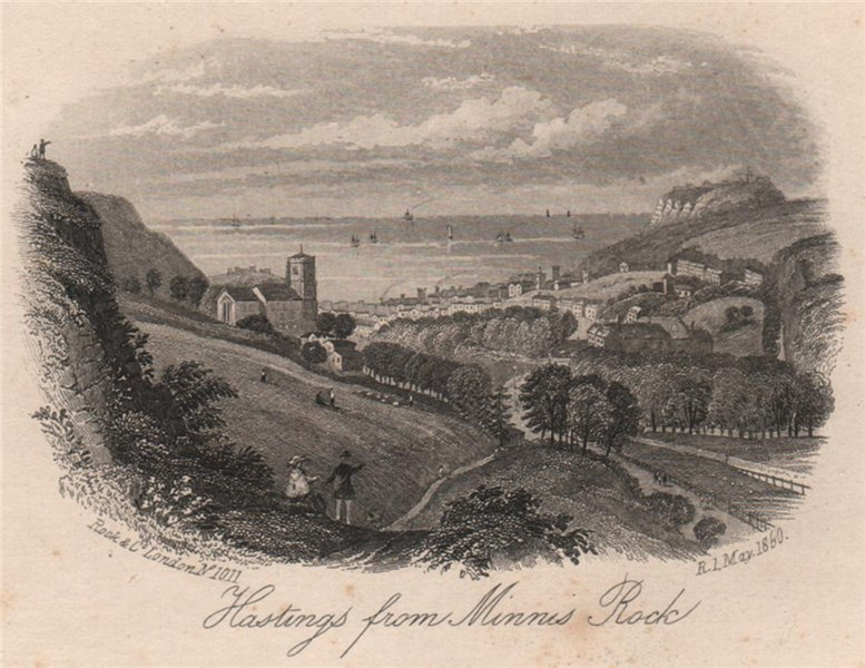 Associate Product Hastings from Minnis Rock, Sussex. Antique steel engraving 1860 old print
