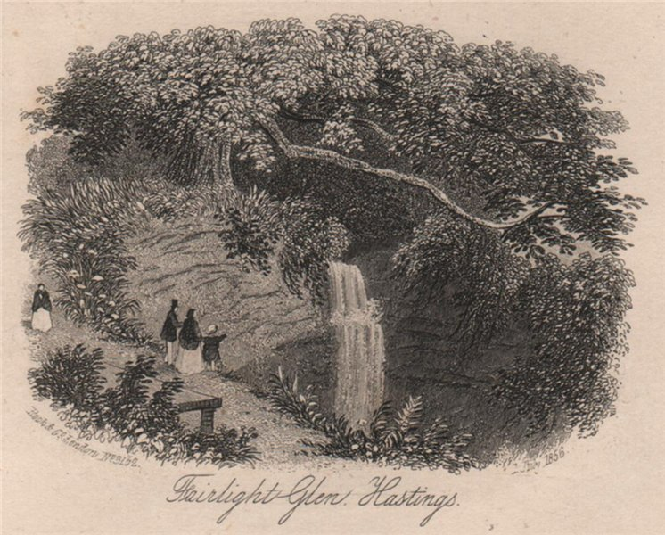 Associate Product Fairlight Glen, Hastings (2), Sussex. Antique steel engraving 1856 old print