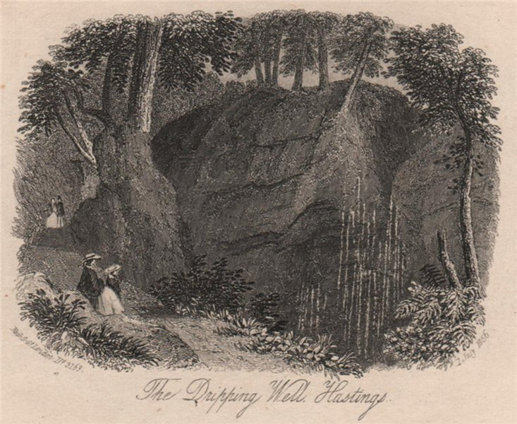 Associate Product The Dripping Well, Hastings, Sussex. Antique steel engraving 1856 old print