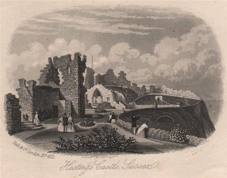 Associate Product Hastings Castle Sussex, Sussex. Antique steel engraving c1872 old print