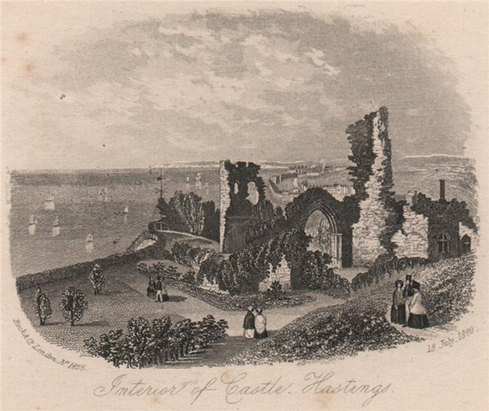 Associate Product Interior of Castle, Hastings, Sussex. Antique steel engraving 1860 old print