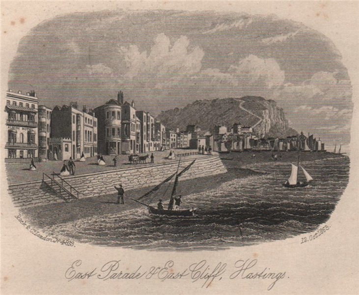 East Parade & East Cliff, Hastings, Sussex. Antique steel engraving 1863 print