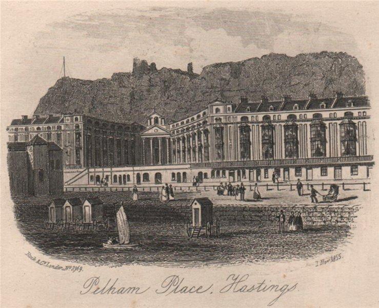 Associate Product Pelham Place, Hastings, Sussex. Antique steel engraving 1855 old print