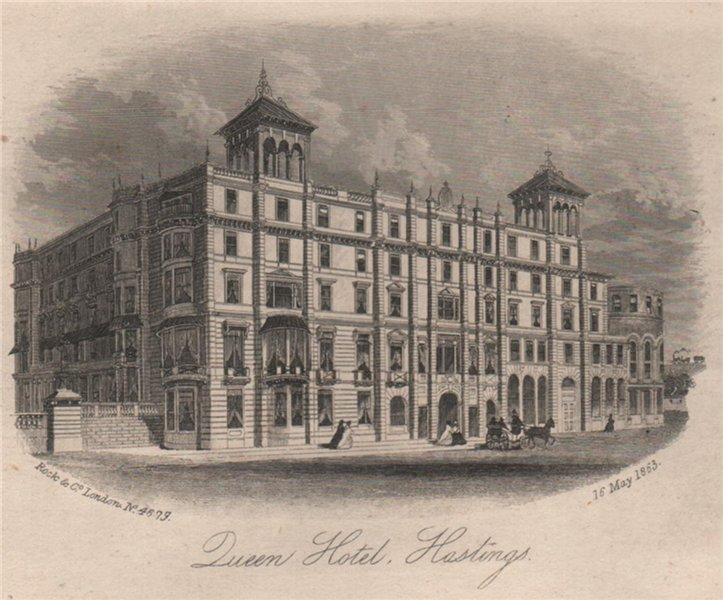 Associate Product Queen Hotel, Hastings, Sussex. Antique steel engraving 1863 old print