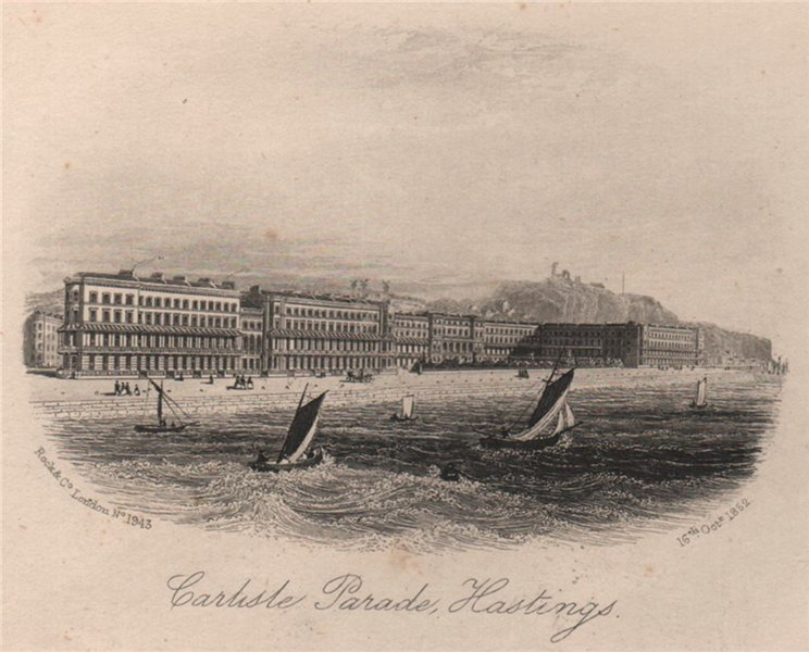 Associate Product Carlisle Parade, Hastings, Sussex. Antique steel engraving 1852 old print