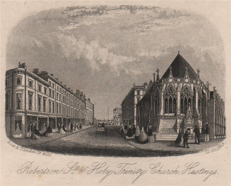 Associate Product Robertson Street & Holy Trinity Church, Hastings, Sussex. Steel engraving 1863