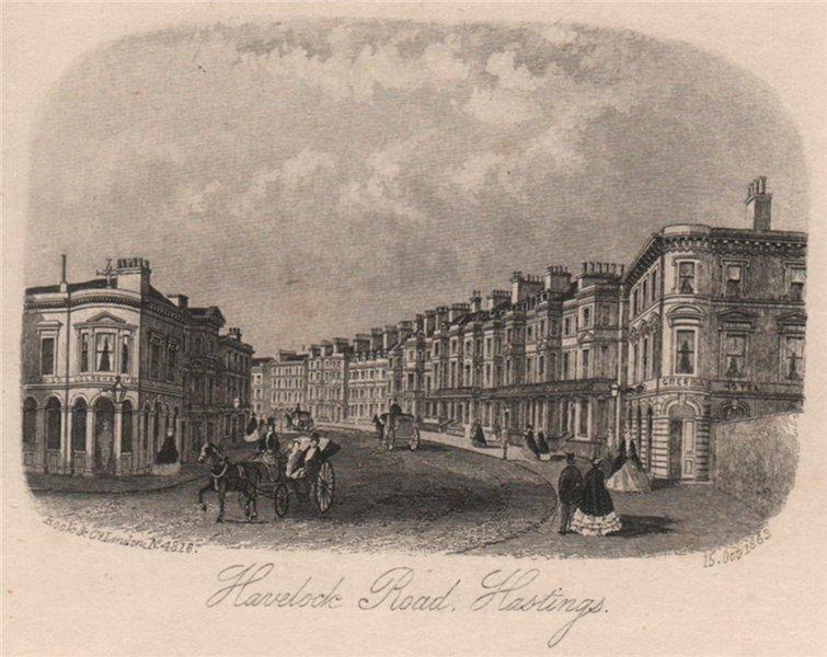 Associate Product Havelock Road, Hastings, Sussex. Antique steel engraving 1863 old print