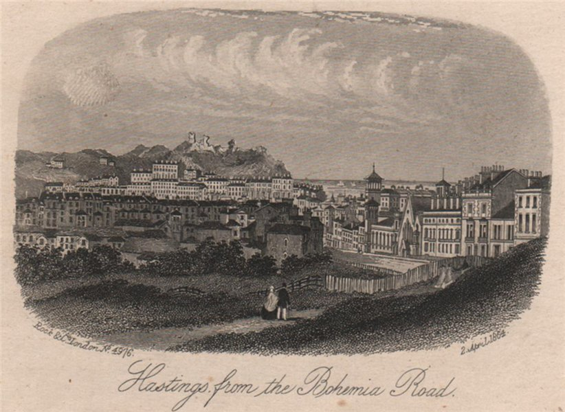 Associate Product Hastings from the Bohemia Road, Sussex. Antique steel engraving 1864 old print