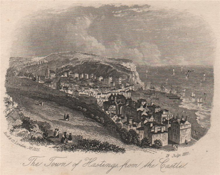 Associate Product The town of Hastings from the Castle, Sussex. Antique steel engraving 1860