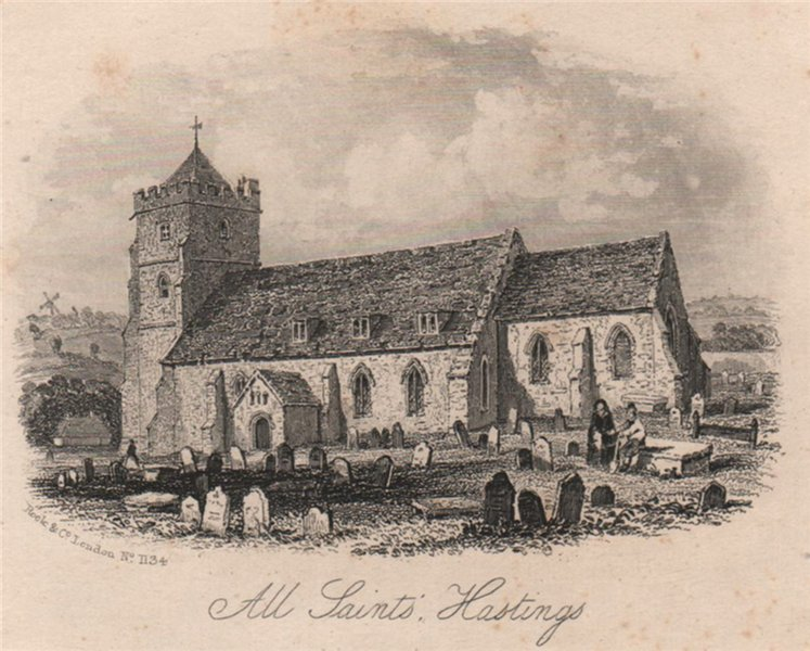 Associate Product All Saints church, Hastings, Sussex. Antique steel engraving c1872 old print