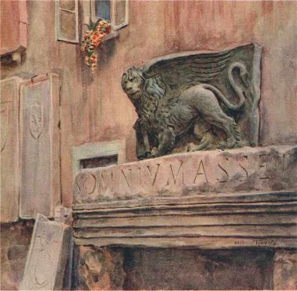 The Lion of St. Mark, Zadar, Croatia, by Walter Tyndale 1925 old vintage print