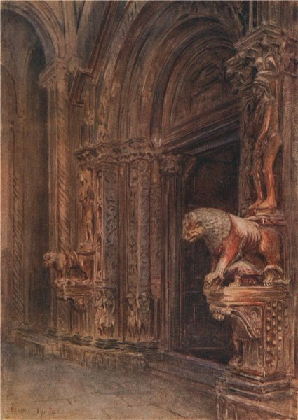 Associate Product Porch, Cathedral of St Lawrence, Trogir, Croatia, by Walter Tyndale 1925 print
